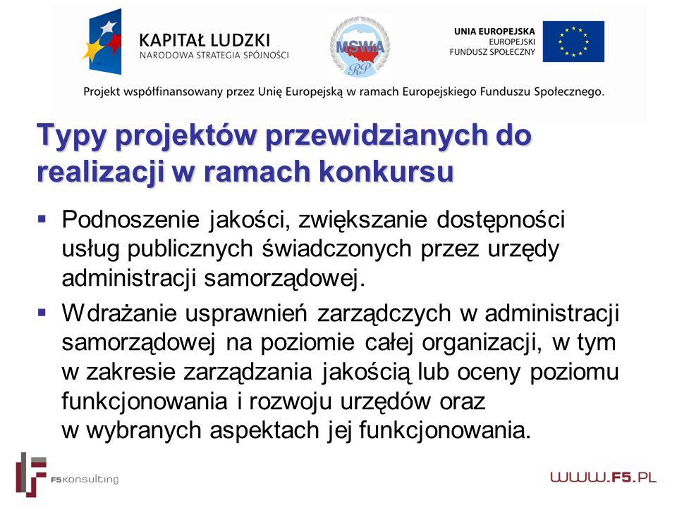 Typy projektów przewidzianych do realizacji w ramach konkursu  Podnoszenie jakości, zwiększanie dostępności usług publicznych świadczonych przez urzędy administracji samorządowej.