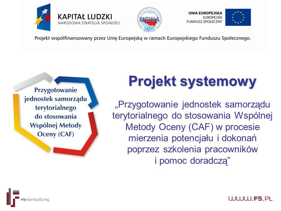 """Projekt systemowy Projekt systemowy """"Przygotowanie jednostek samorządu terytorialnego do stosowania Wspólnej Metody Oceny (CAF) w procesie mierzenia potencjału i dokonań poprzez szkolenia pracowników i pomoc doradczą"""
