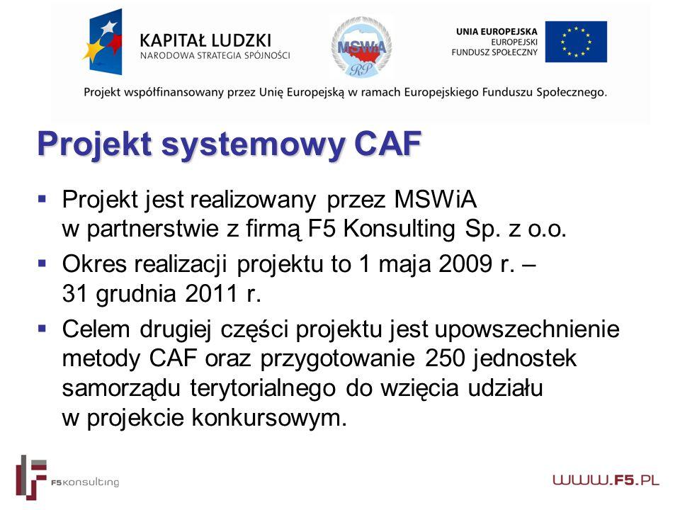 Projekt systemowy CAF  Projekt jest realizowany przez MSWiA w partnerstwie z firmą F5 Konsulting Sp.
