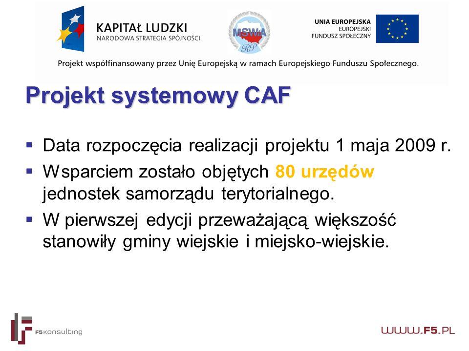 Projekt systemowy CAF  Data rozpoczęcia realizacji projektu 1 maja 2009 r.