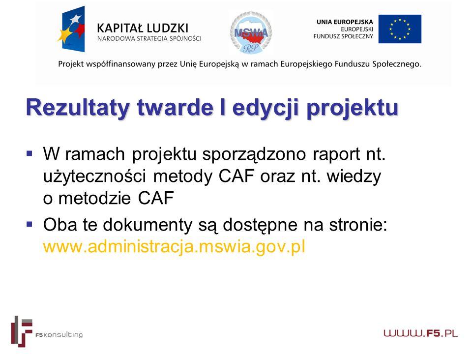 Rezultaty twarde I edycji projektu  W ramach projektu sporządzono raport nt.