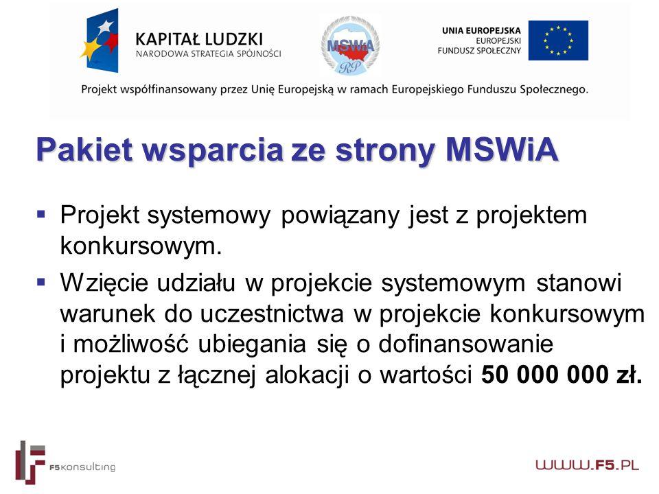 Pakiet wsparcia ze strony MSWiA  Projekt systemowy powiązany jest z projektem konkursowym.