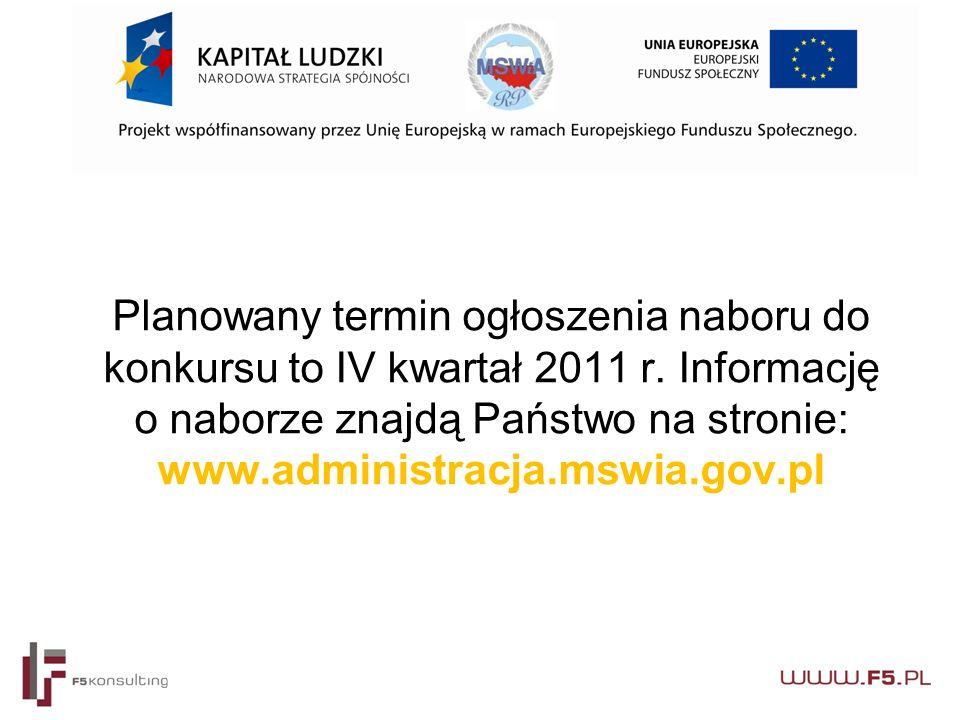 Planowany termin ogłoszenia naboru do konkursu to IV kwartał 2011 r.