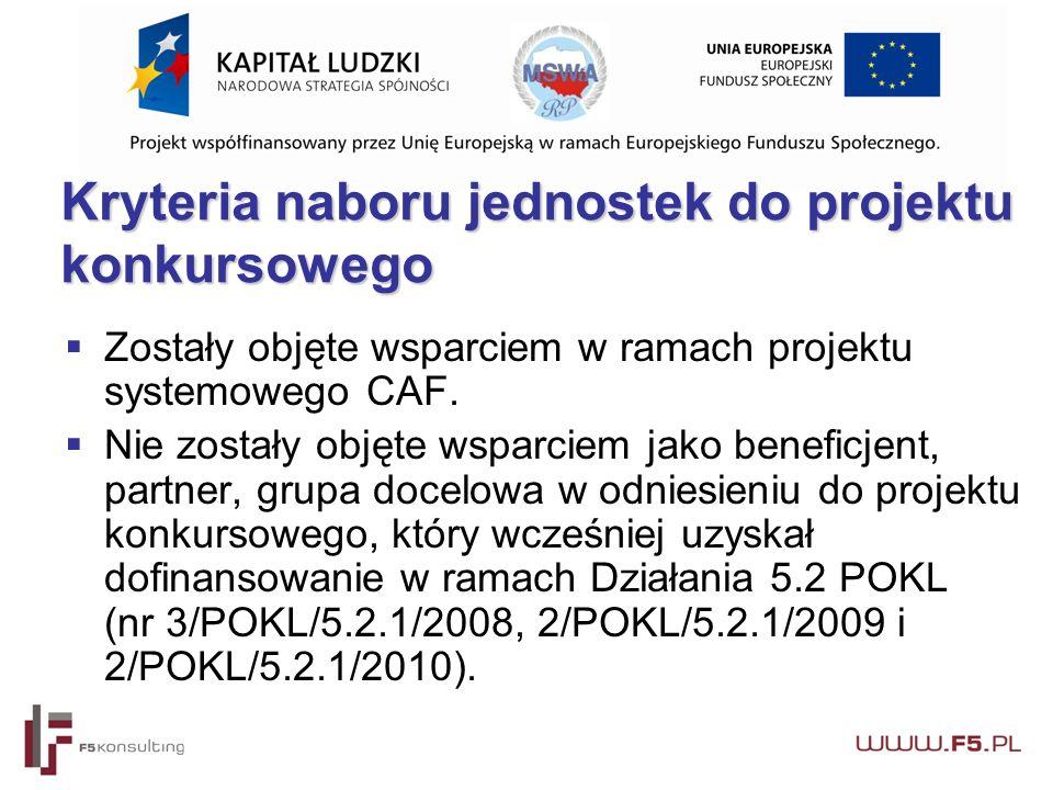 Kryteria naboru jednostek do projektu konkursowego Kryteria naboru jednostek do projektu konkursowego  Zostały objęte wsparciem w ramach projektu systemowego CAF.