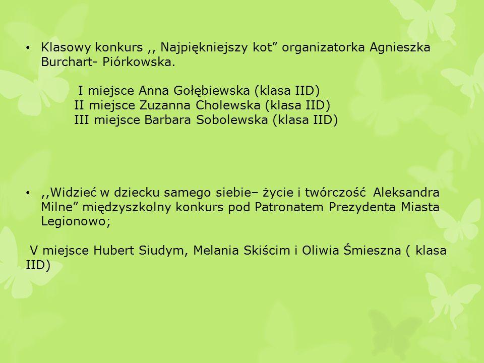 Klasowy konkurs,, Najpiękniejszy kot organizatorka Agnieszka Burchart- Piórkowska.
