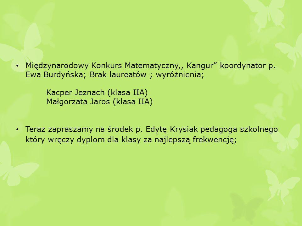 Międzynarodowy Konkurs Matematyczny,, Kangur koordynator p.