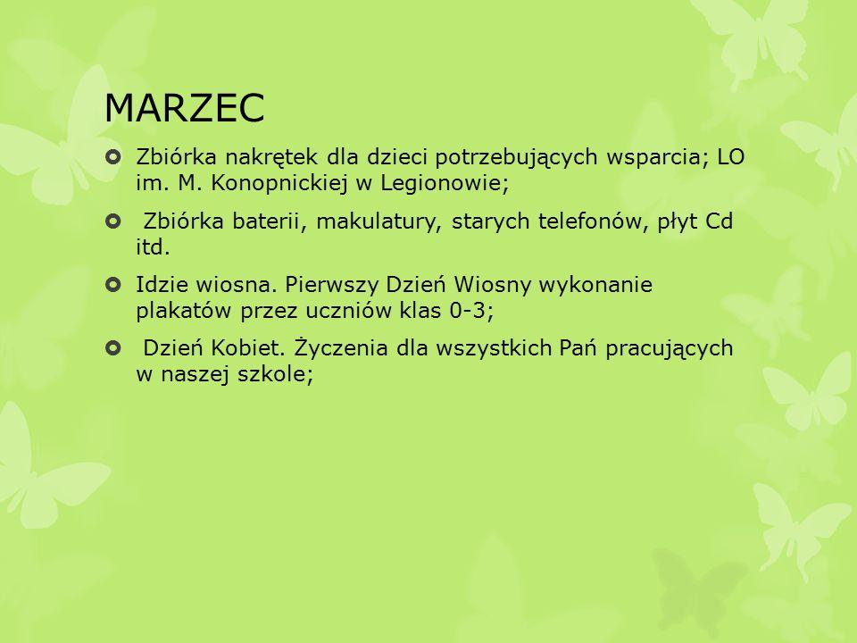 MARZEC  Zbiórka nakrętek dla dzieci potrzebujących wsparcia; LO im.