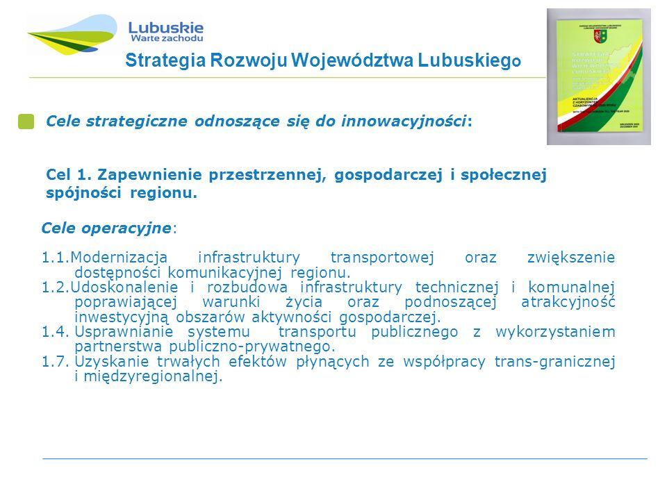 Strategia Rozwoju Województwa Lubuskieg o Cele strategiczne odnoszące się do innowacyjności: Cel 1.