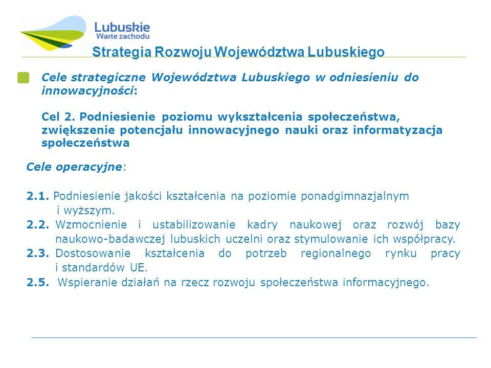 Strategia Rozwoju Województwa Lubuskiego Cele strategiczne Województwa Lubuskiego w odniesieniu do innowacyjności: Cel 2.