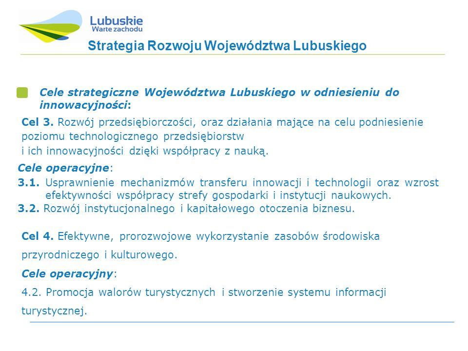 Strategia Rozwoju Województwa Lubuskiego Cele strategiczne Województwa Lubuskiego w odniesieniu do innowacyjności: Cele operacyjne: 3.1.
