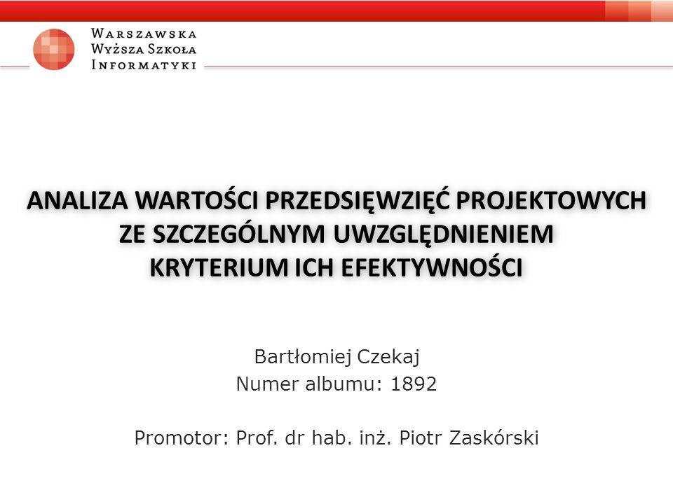 ANALIZA WARTOŚCI PRZEDSIĘWZIĘĆ PROJEKTOWYCH ZE SZCZEGÓLNYM UWZGLĘDNIENIEM KRYTERIUM ICH EFEKTYWNOŚCI Bartłomiej Czekaj Numer albumu: 1892 Promotor: Prof.