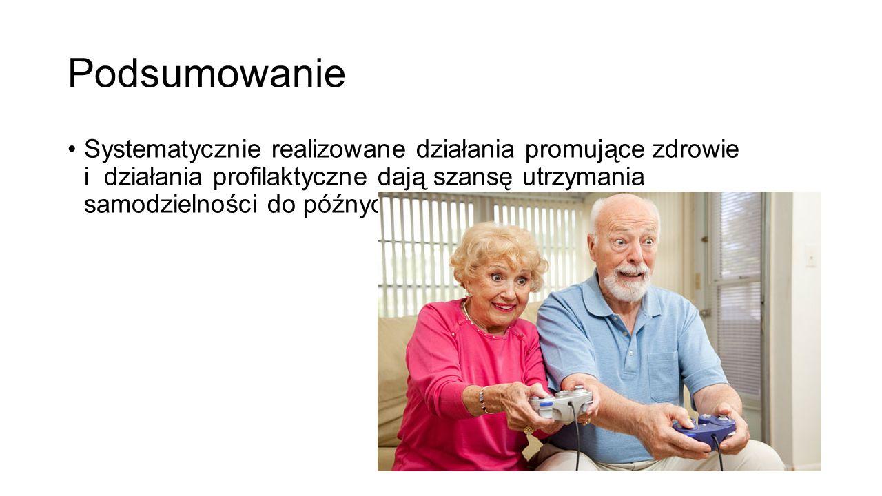 Podsumowanie Systematycznie realizowane działania promujące zdrowie i działania profilaktyczne dają szansę utrzymania samodzielności do późnych lat w starości.