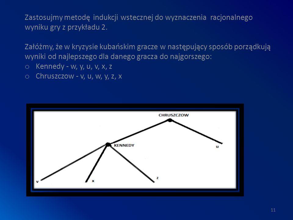 11 Zastosujmy metodę indukcji wstecznej do wyznaczenia racjonalnego wyniku gry z przykładu 2.