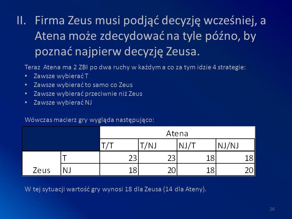 II.Firma Zeus musi podjąć decyzję wcześniej, a Atena może zdecydować na tyle późno, by poznać najpierw decyzję Zeusa.