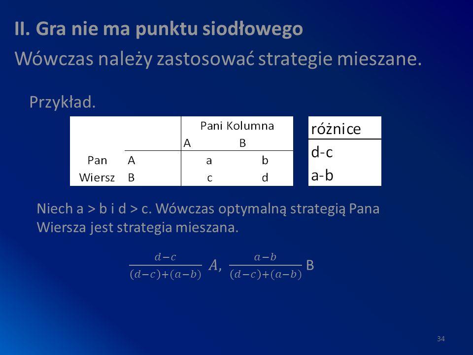 II. Gra nie ma punktu siodłowego Wówczas należy zastosować strategie mieszane.