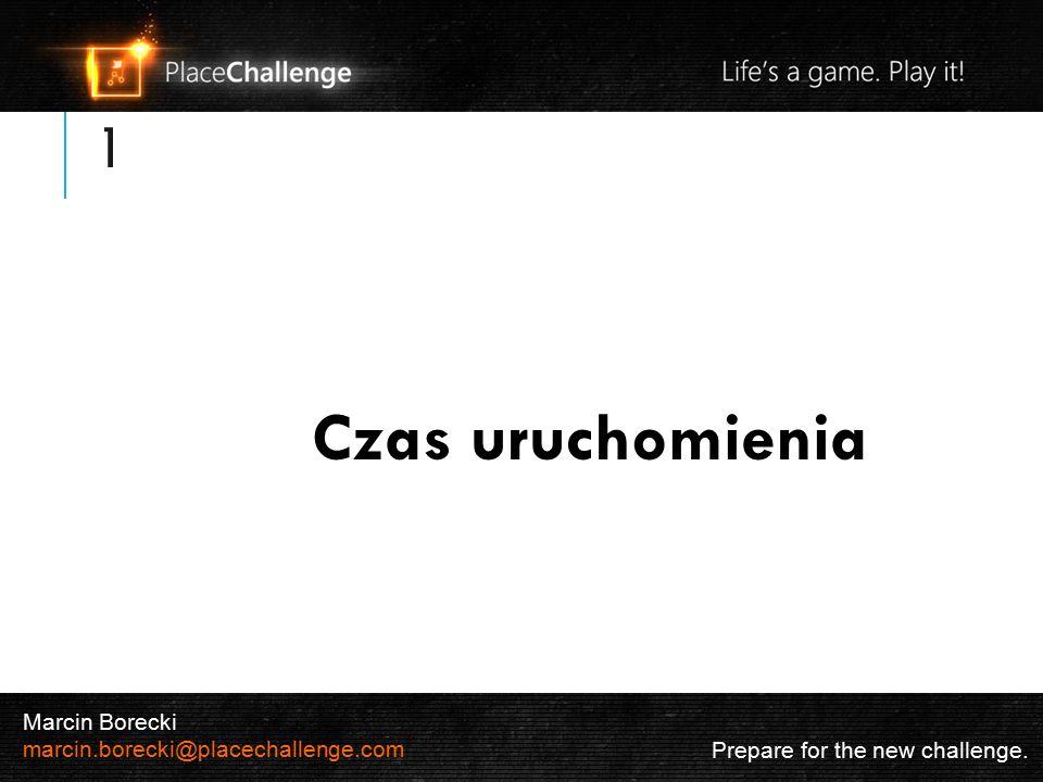 1 Czas uruchomienia Prepare for the new challenge. Marcin Borecki marcin.borecki@placechallenge.com