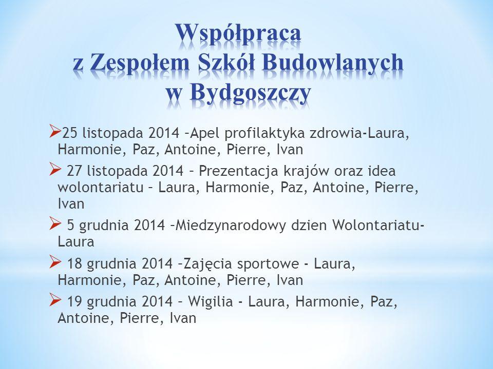  25 listopada 2014 –Apel profilaktyka zdrowia-Laura, Harmonie, Paz, Antoine, Pierre, Ivan  27 listopada 2014 – Prezentacja krajów oraz idea wolontar