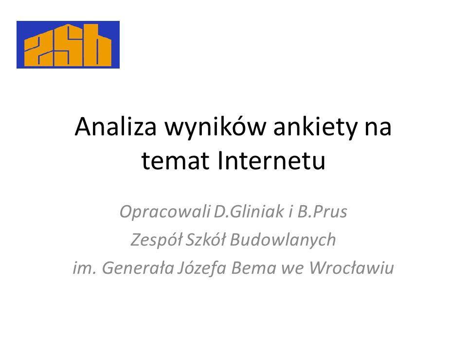 Analiza wyników ankiety na temat Internetu Opracowali D.Gliniak i B.Prus Zespół Szkół Budowlanych im. Generała Józefa Bema we Wrocławiu