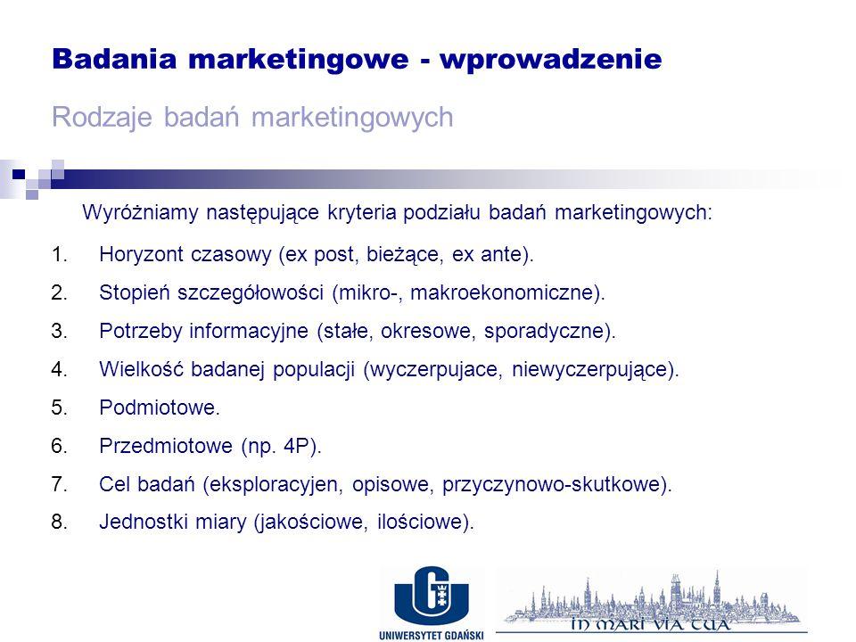 Badania marketingowe - wprowadzenie Rodzaje badań marketingowych Wyróżniamy następujące kryteria podziału badań marketingowych: 1.Horyzont czasowy (ex post, bieżące, ex ante).