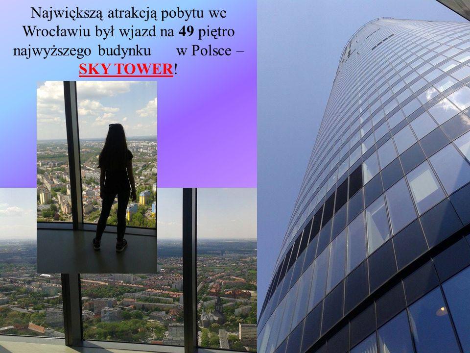 Największą atrakcją pobytu we Wrocławiu był wjazd na 49 piętro najwyższego budynku w Polsce – SKY TOWER!