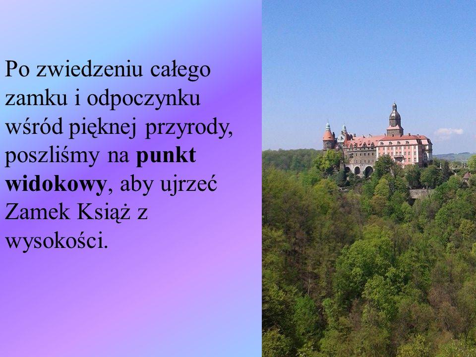 Po zwiedzeniu całego zamku i odpoczynku wśród pięknej przyrody, poszliśmy na punkt widokowy, aby ujrzeć Zamek Książ z wysokości.