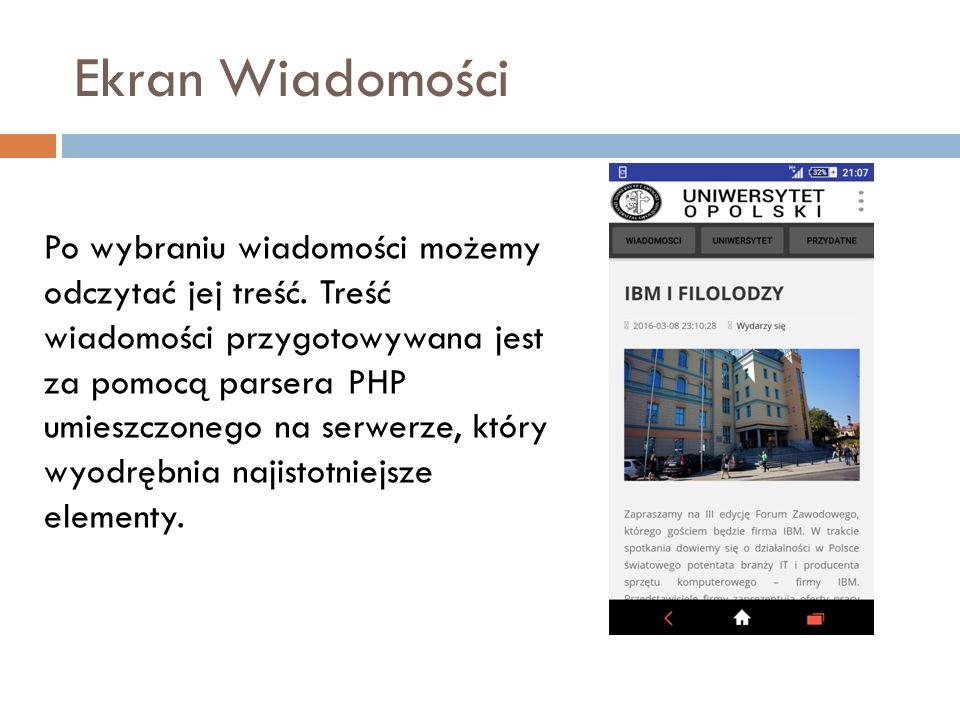 Ekran Wiadomości Po wybraniu wiadomości możemy odczytać jej treść.