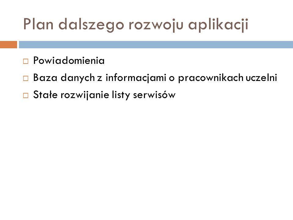 Plan dalszego rozwoju aplikacji  Powiadomienia  Baza danych z informacjami o pracownikach uczelni  Stałe rozwijanie listy serwisów