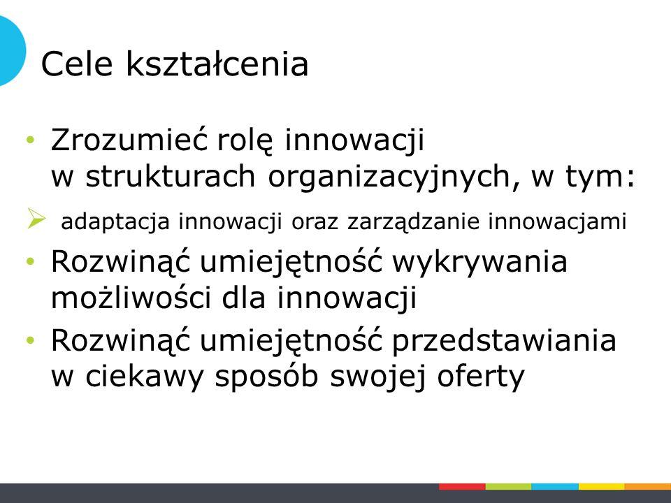 Cele kształcenia Zrozumieć rolę innowacji w strukturach organizacyjnych, w tym:  adaptacja innowacji oraz zarządzanie innowacjami Rozwinąć umiejętność wykrywania możliwości dla innowacji Rozwinąć umiejętność przedstawiania w ciekawy sposób swojej oferty