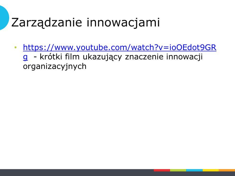 https://www.youtube.com/watch v=ioOEdot9GR g - krótki film ukazujący znaczenie innowacji organizacyjnych https://www.youtube.com/watch v=ioOEdot9GR g Zarządzanie innowacjami
