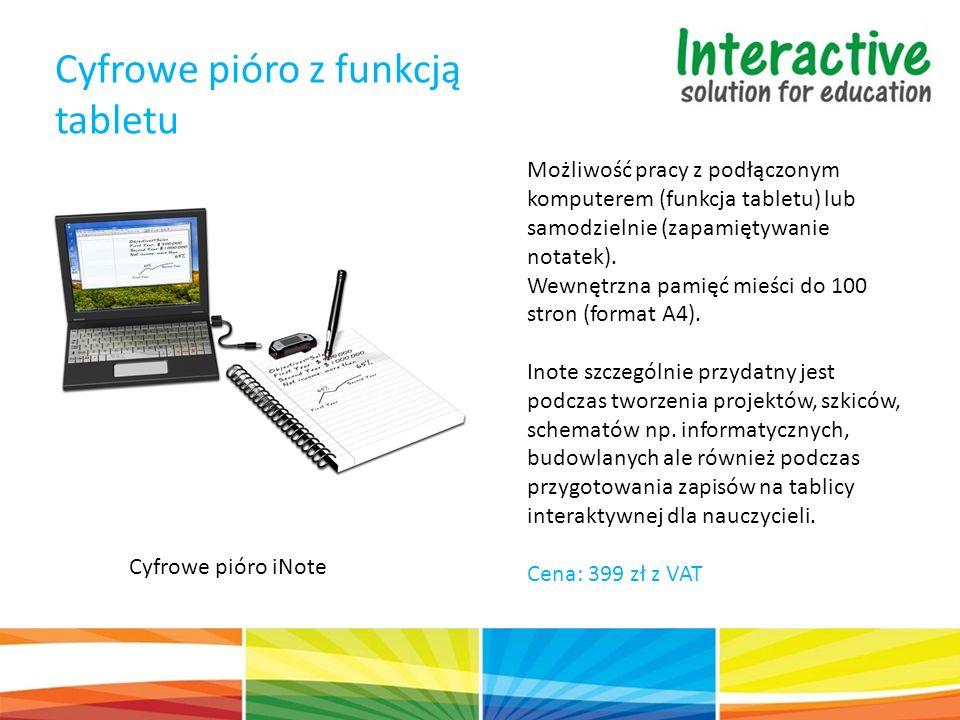 Cyfrowe pióro z funkcją tabletu Cyfrowe pióro iNote Możliwość pracy z podłączonym komputerem (funkcja tabletu) lub samodzielnie (zapamiętywanie notatek).
