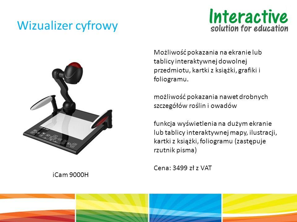 Wizualizer cyfrowy iCam 9000H Możliwość pokazania na ekranie lub tablicy interaktywnej dowolnej przedmiotu, kartki z książki, grafiki i foliogramu.