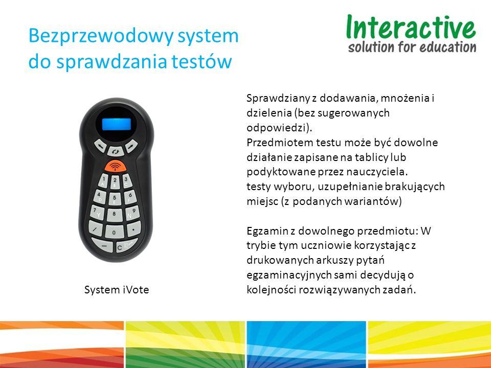 Bezprzewodowy system do sprawdzania testów System iVote Sprawdziany z dodawania, mnożenia i dzielenia (bez sugerowanych odpowiedzi). Przedmiotem testu