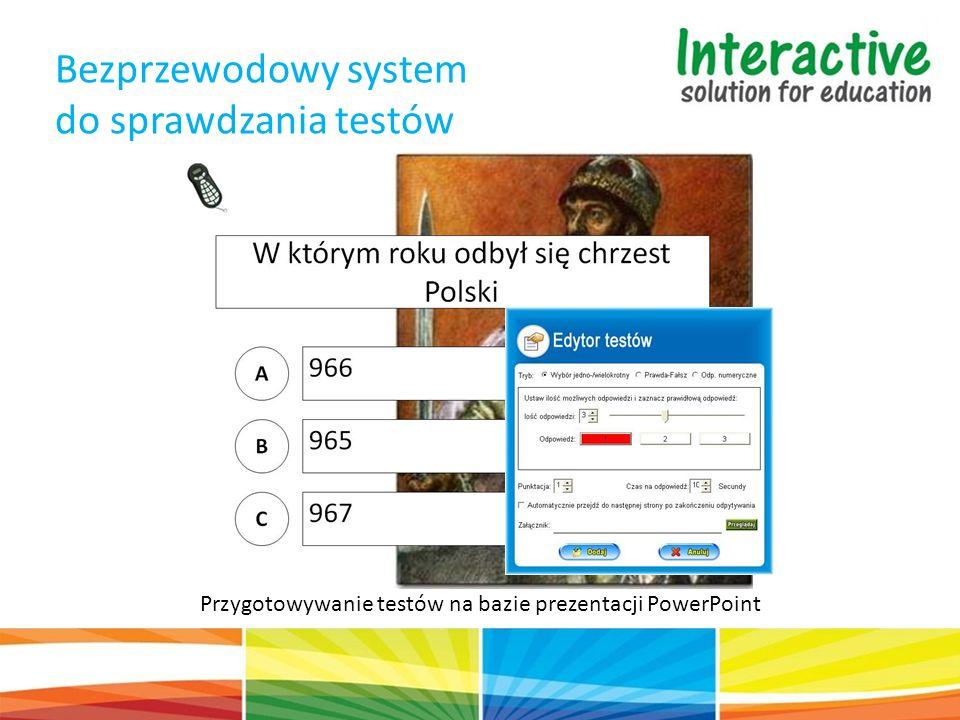 Bezprzewodowy system do sprawdzania testów Przygotowywanie testów na bazie prezentacji PowerPoint