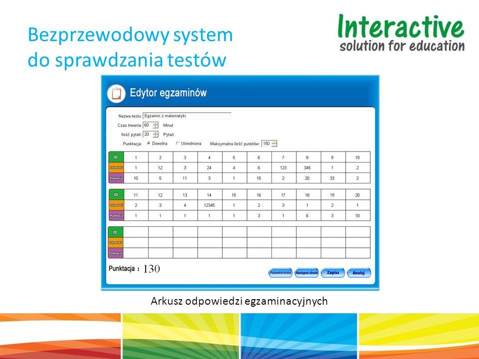 Bezprzewodowy system do sprawdzania testów Arkusz odpowiedzi egzaminacyjnych