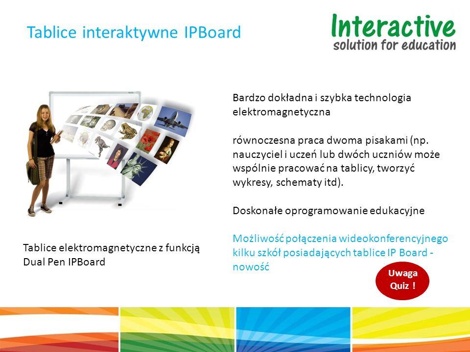 Tablice elektromagnetyczne z funkcją Dual Pen IPBoard Tablice interaktywne IPBoard Bardzo dokładna i szybka technologia elektromagnetyczna równoczesna praca dwoma pisakami (np.