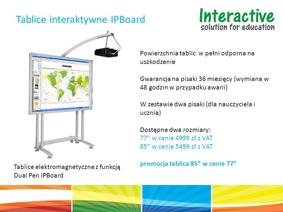 Tablice elektromagnetyczne z funkcją Dual Pen IPBoard Powierzchnia tablic w pełni odporna na uszkodzenie Gwarancja na pisaki 36 miesięcy (wymiana w 48 godzin w przypadku awarii) W zestawie dwa pisaki (dla nauczyciela i ucznia) Dostępne dwa rozmiary: 77 w cenie 4999 zł z VAT 85 w cenie 5499 zł z VAT promocja tablica 85 w cenie 77 Tablice interaktywne IPBoard
