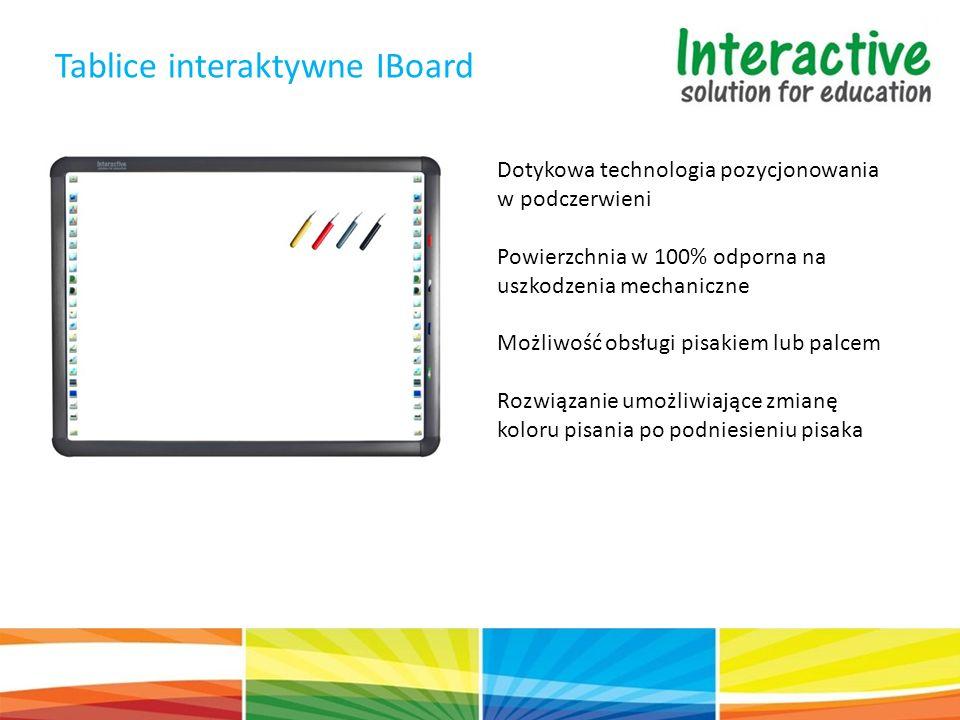 Tablice interaktywne IBoard Dotykowa technologia pozycjonowania w podczerwieni Powierzchnia w 100% odporna na uszkodzenia mechaniczne Możliwość obsługi pisakiem lub palcem Rozwiązanie umożliwiające zmianę koloru pisania po podniesieniu pisaka