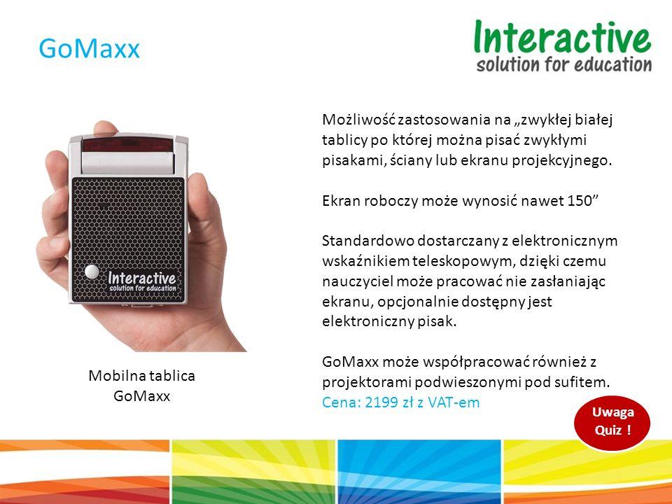 """Mobilna tablica GoMaxx GoMaxx Możliwość zastosowania na """"zwykłej białej tablicy po której można pisać zwykłymi pisakami, ściany lub ekranu projekcyjnego."""