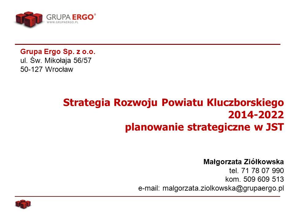 Strategia Rozwoju Powiatu Kluczborskiego 2014-2022 planowanie strategiczne w JST Małgorzata Ziółkowska tel.