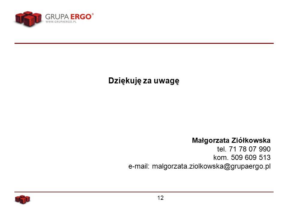Dziękuję za uwagę Małgorzata Ziółkowska tel. 71 78 07 990 kom.