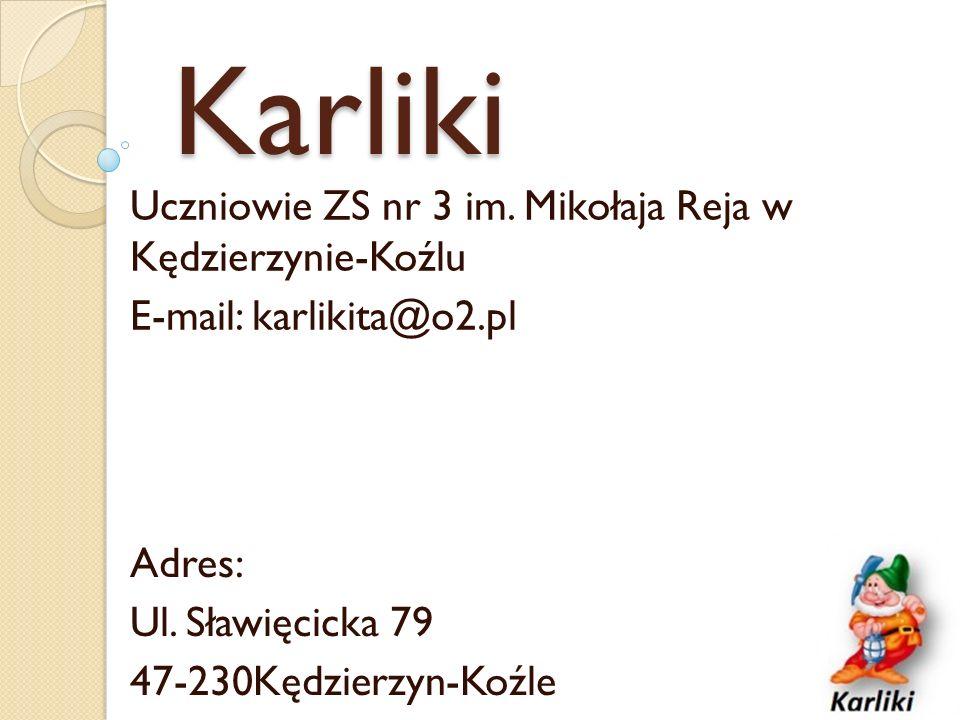 Karliki Uczniowie ZS nr 3 im. Mikołaja Reja w Kędzierzynie-Koźlu E-mail: karlikita@o2.pl Adres: Ul.