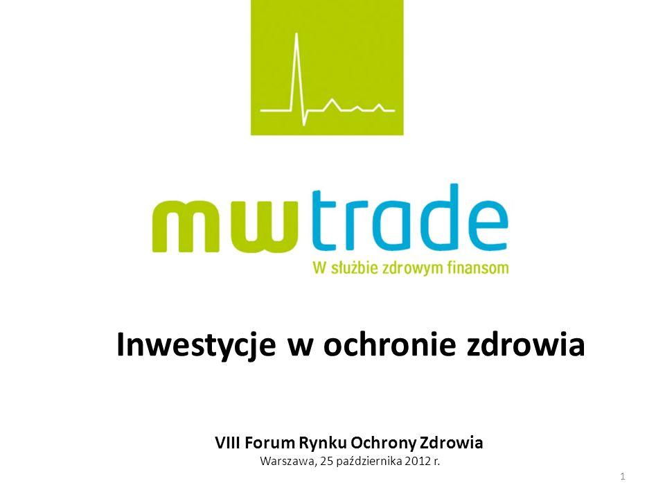 1 Inwestycje w ochronie zdrowia VIII Forum Rynku Ochrony Zdrowia Warszawa, 25 października 2012 r.