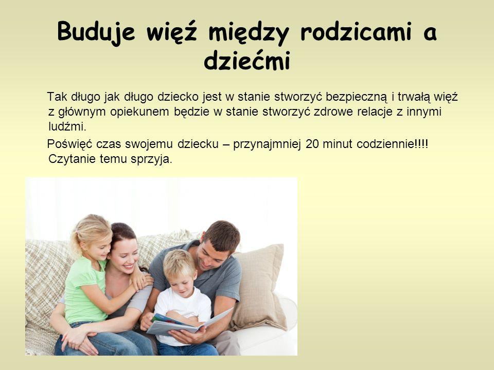 Buduje więź między rodzicami a dziećmi Tak długo jak długo dziecko jest w stanie stworzyć bezpieczną i trwałą więź z głównym opiekunem będzie w stanie