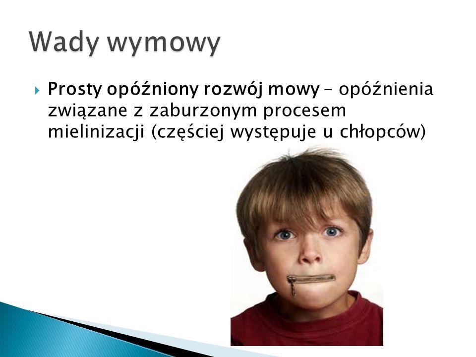  Prosty opóźniony rozwój mowy – opóźnienia związane z zaburzonym procesem mielinizacji (częściej występuje u chłopców)