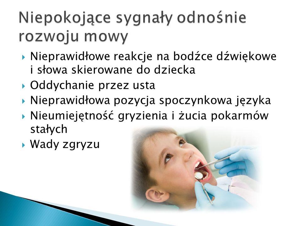  Nieprawidłowe reakcje na bodźce dźwiękowe i słowa skierowane do dziecka  Oddychanie przez usta  Nieprawidłowa pozycja spoczynkowa języka  Nieumiejętność gryzienia i żucia pokarmów stałych  Wady zgryzu