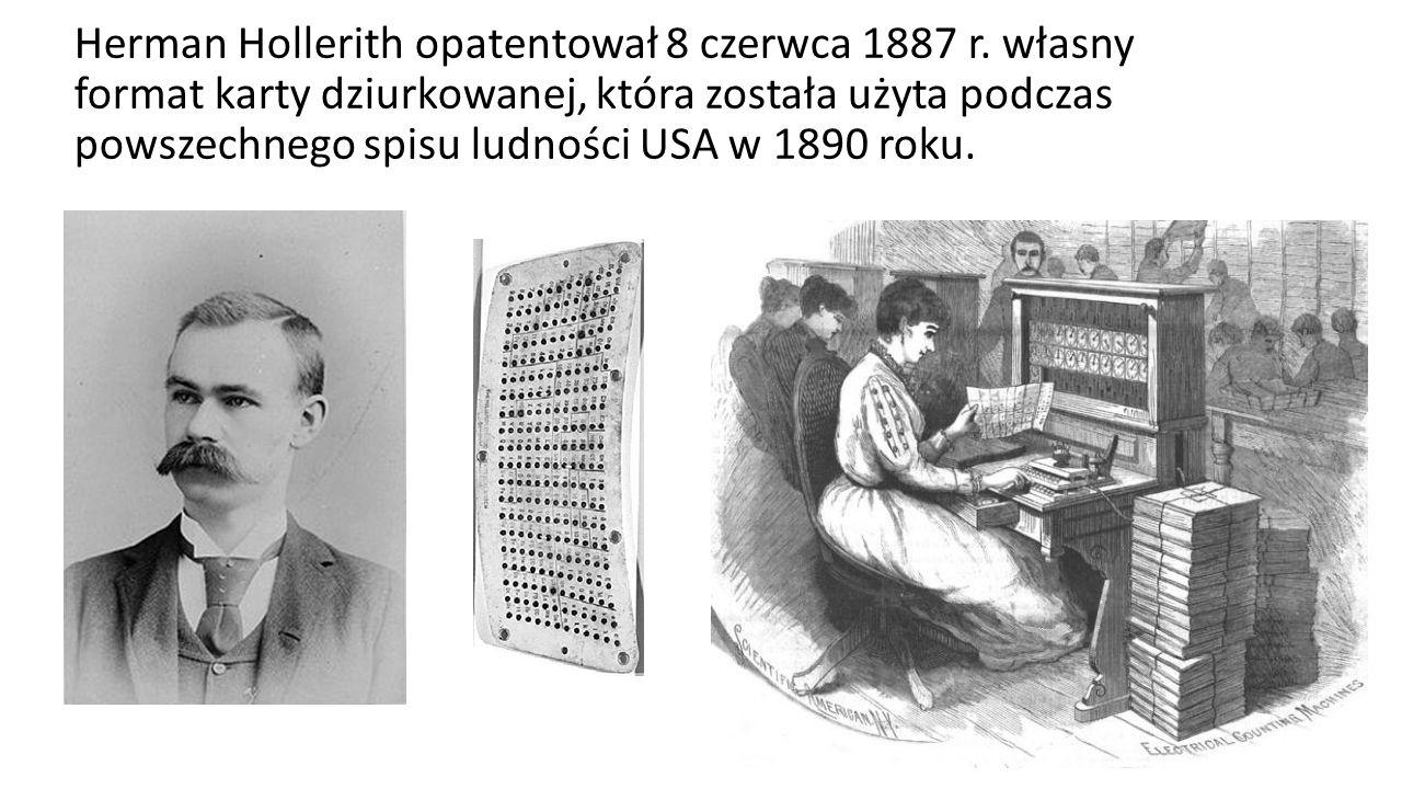 Herman Hollerith opatentował 8 czerwca 1887 r.