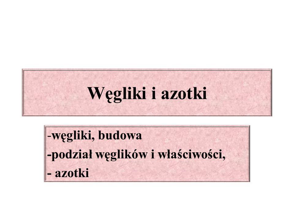 Węgliki i azotki -węgliki, budowa -podział węglików i właściwości, - azotki