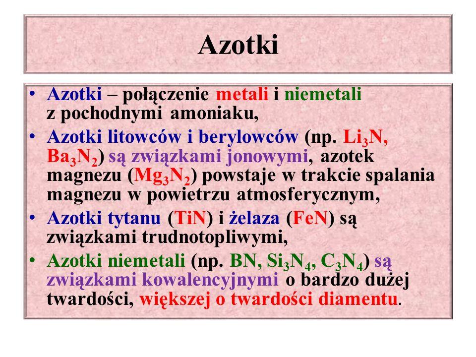 Azotki Azotki – połączenie metali i niemetali z pochodnymi amoniaku, Azotki litowców i berylowców (np.