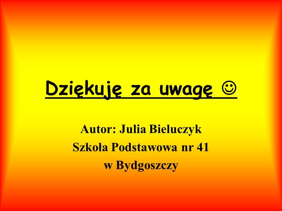 Dziękuję za uwagę Autor: Julia Bieluczyk Szkoła Podstawowa nr 41 w Bydgoszczy