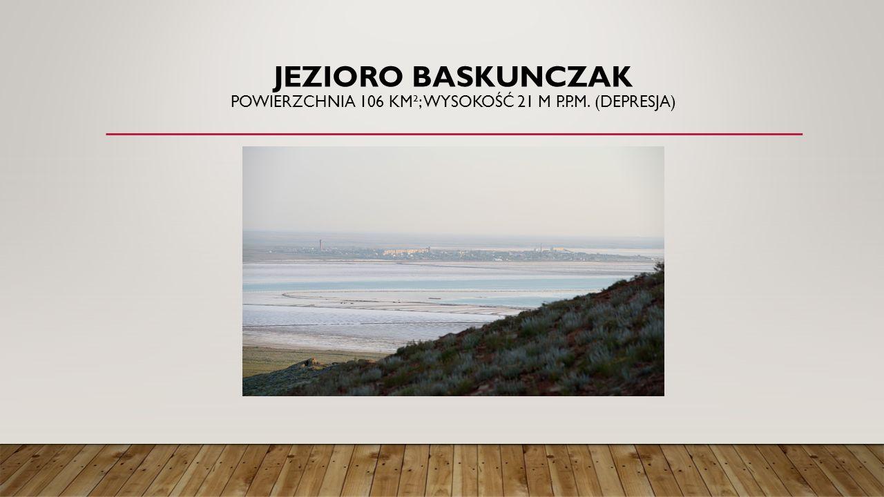 JEZIORO BASKUNCZAK POWIERZCHNIA 106 KM²; WYSOKOŚĆ 21 M P.P.M. (DEPRESJA)